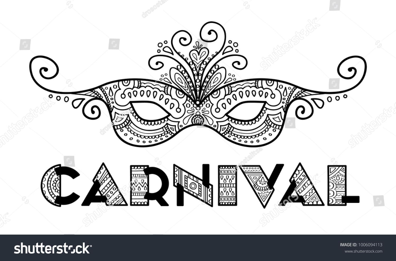 Carnival Mask Black White Vector Hand Stock Vector 1006094113 ...