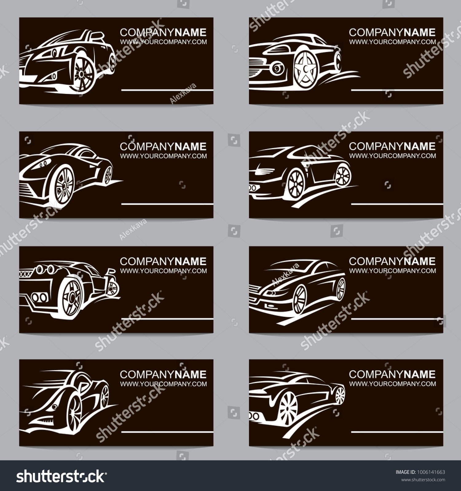 Collection Black Business Cards Cars Stock Vector 1006141663 ...