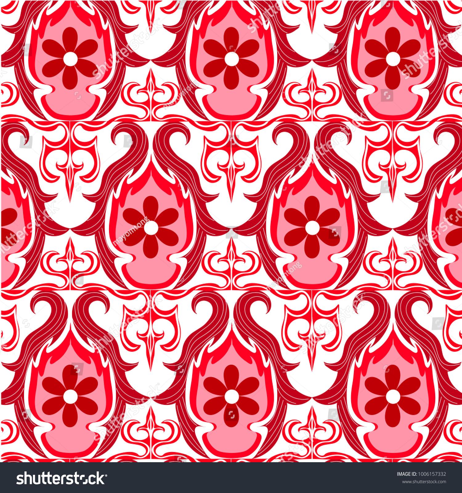 Vector Illustration 70s Wallpaper Pattern Stock Vector Royalty