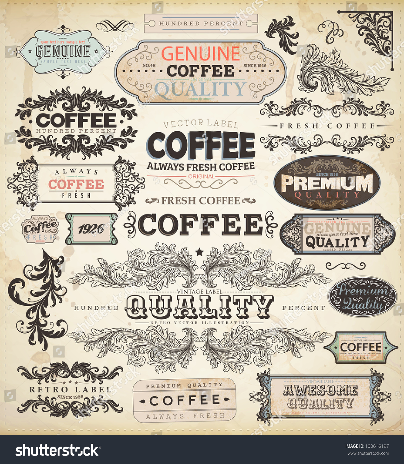 Royalty free collection of vintage elements for 100616197 stock collection of vintage elements for coffee design retro coffee badges and labels old style floral ornaments frames and borders eps10 vector set stock biocorpaavc Image collections