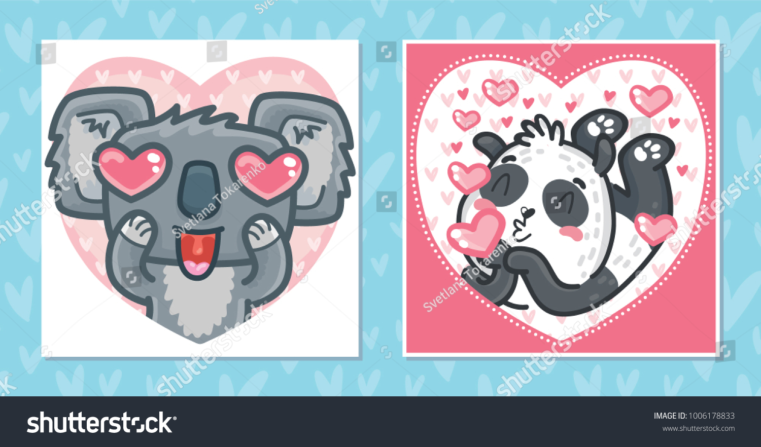 Set Romantic Valentines Day Cards Characters Stock Vector Royalty