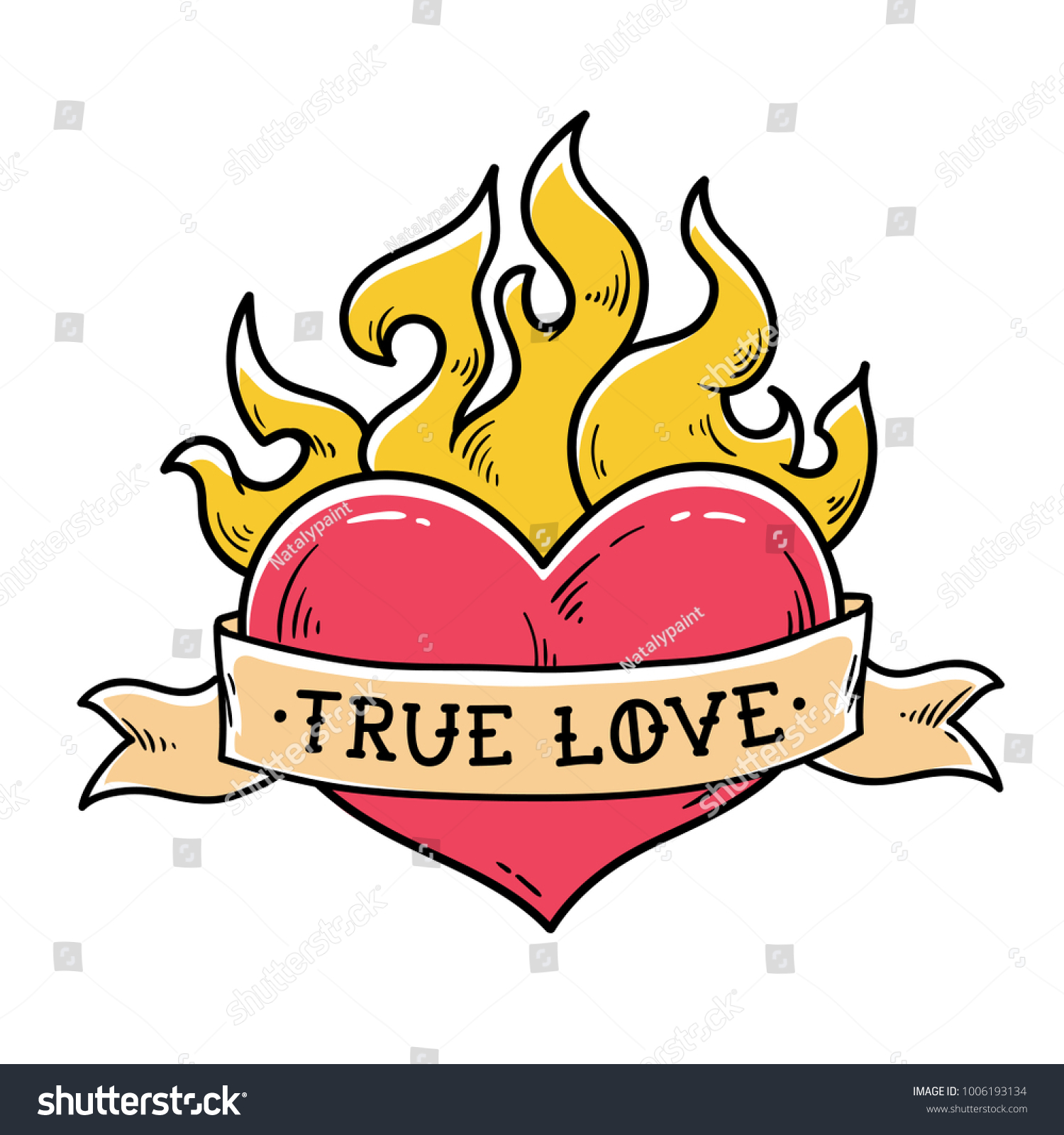 Flaming Heart Tattoo Ribbon True Love Vector De Stock Libre De