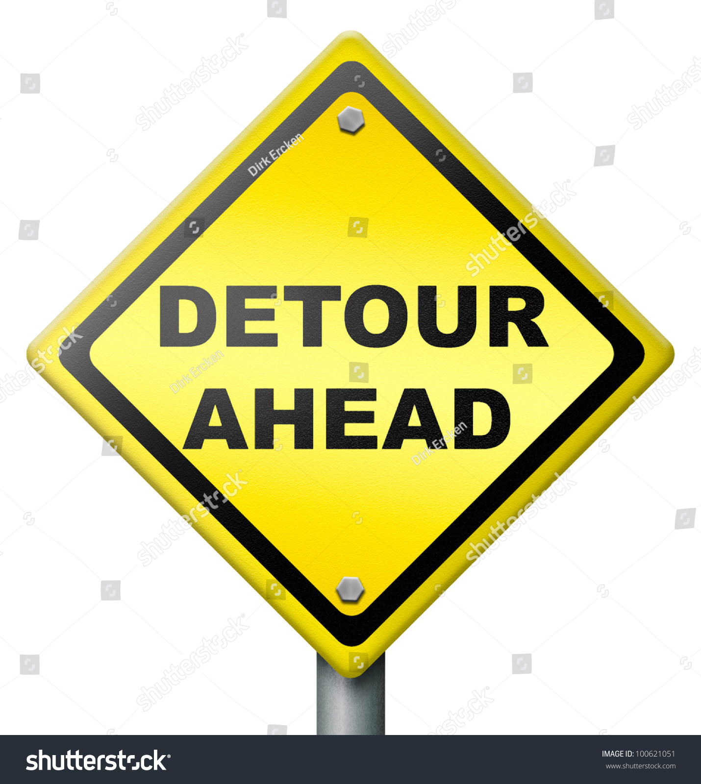 Problem Yellow Warning Sign Caution Trouble Issue Stock: Detour Ahead Road Block Traffic Problem, Yellow Road Sign