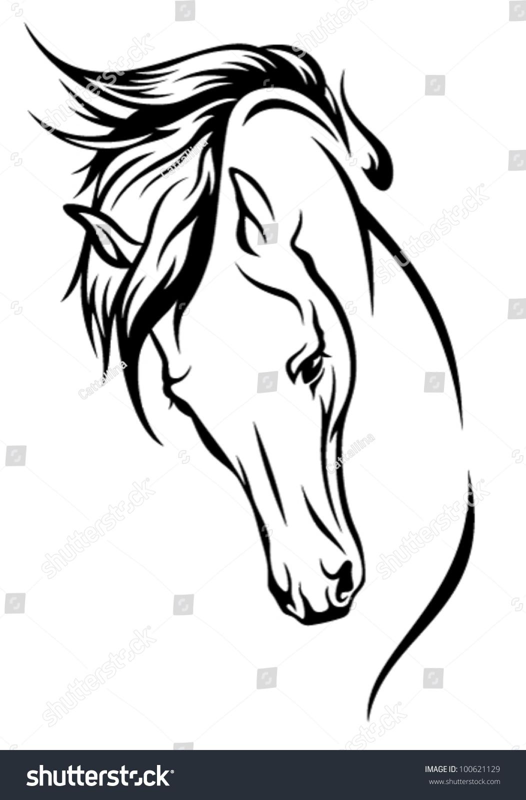Line Drawing Horse Head : Horse head flying mane vector illustration stock