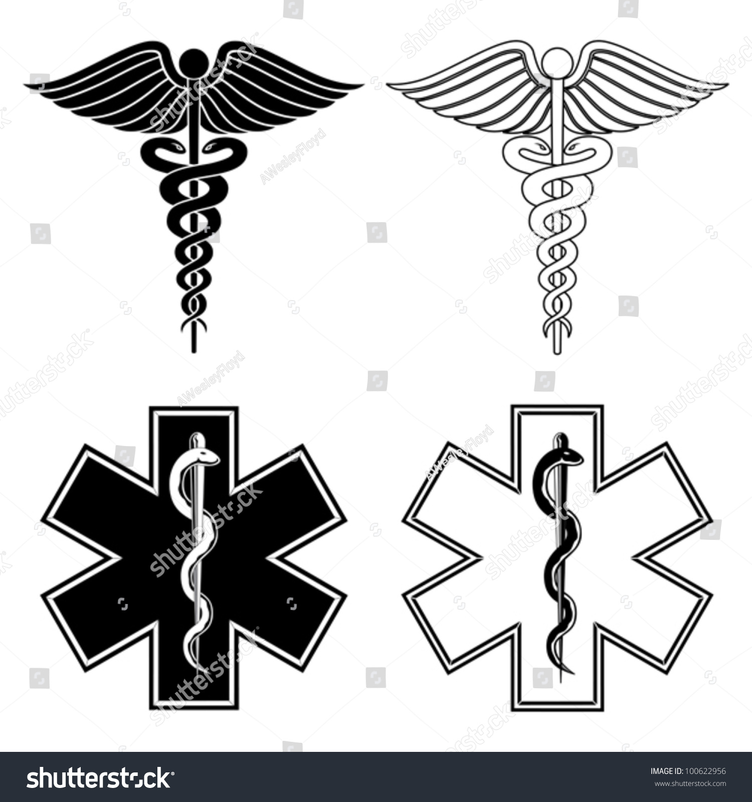 Caduceus Star Life Medical Symbols Illustration Stock Vector