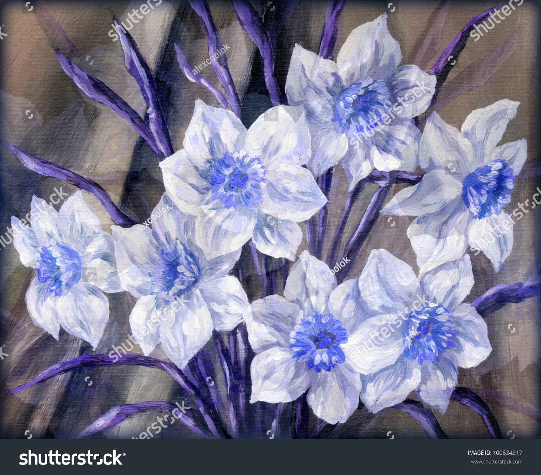 Picture Stilllife Blue White Flowers Bouquet Stock Illustration