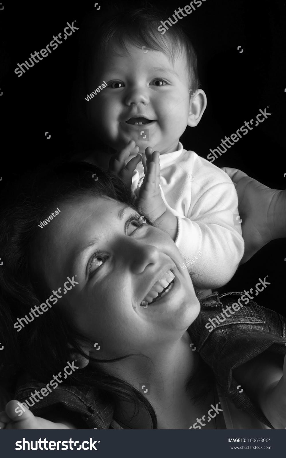 Black White Portrait Beautiful Happy Mother Stock Photo Edit Now 100638064