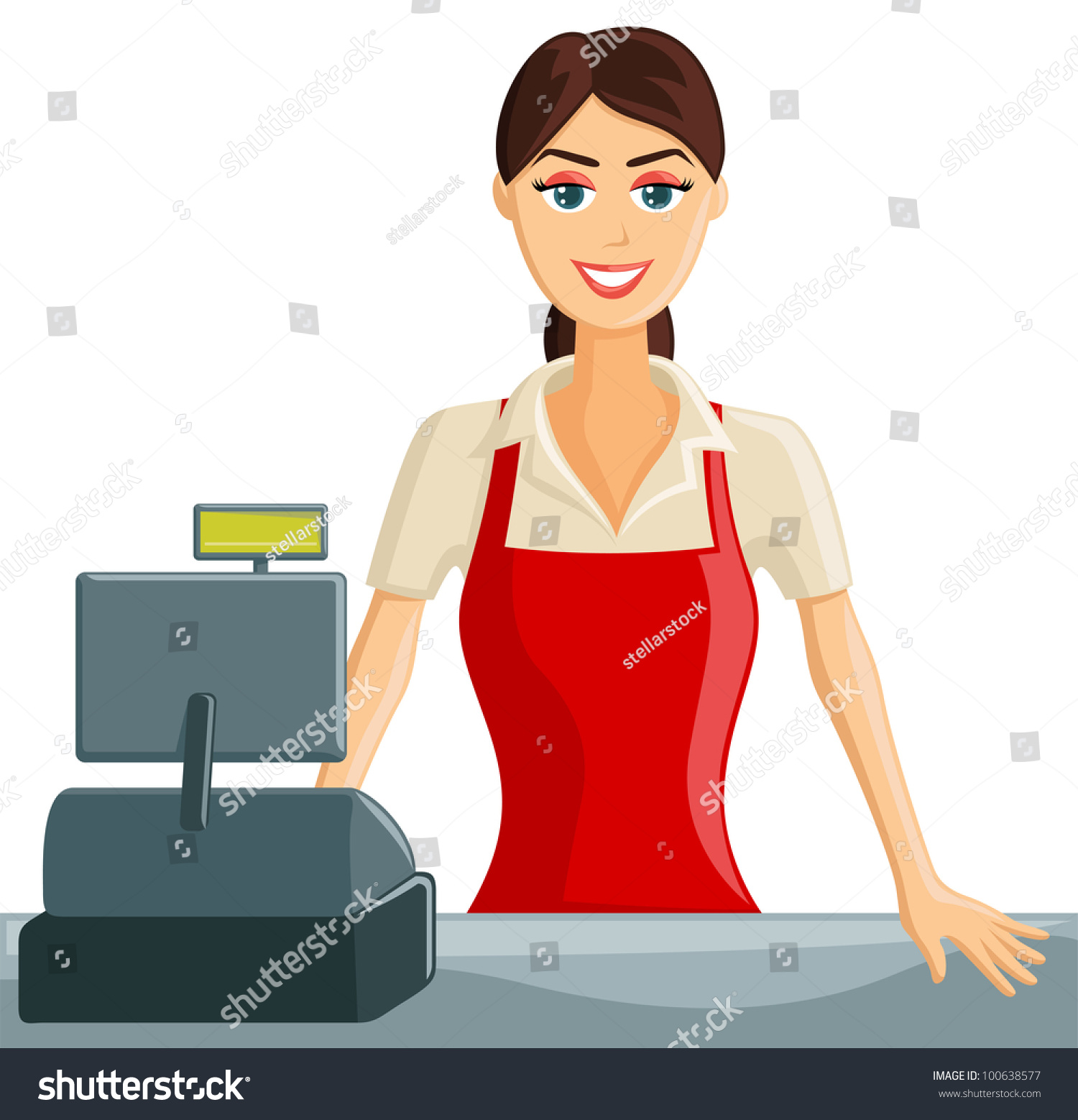 smiling cashier girl stock vector 100638577 shutterstock