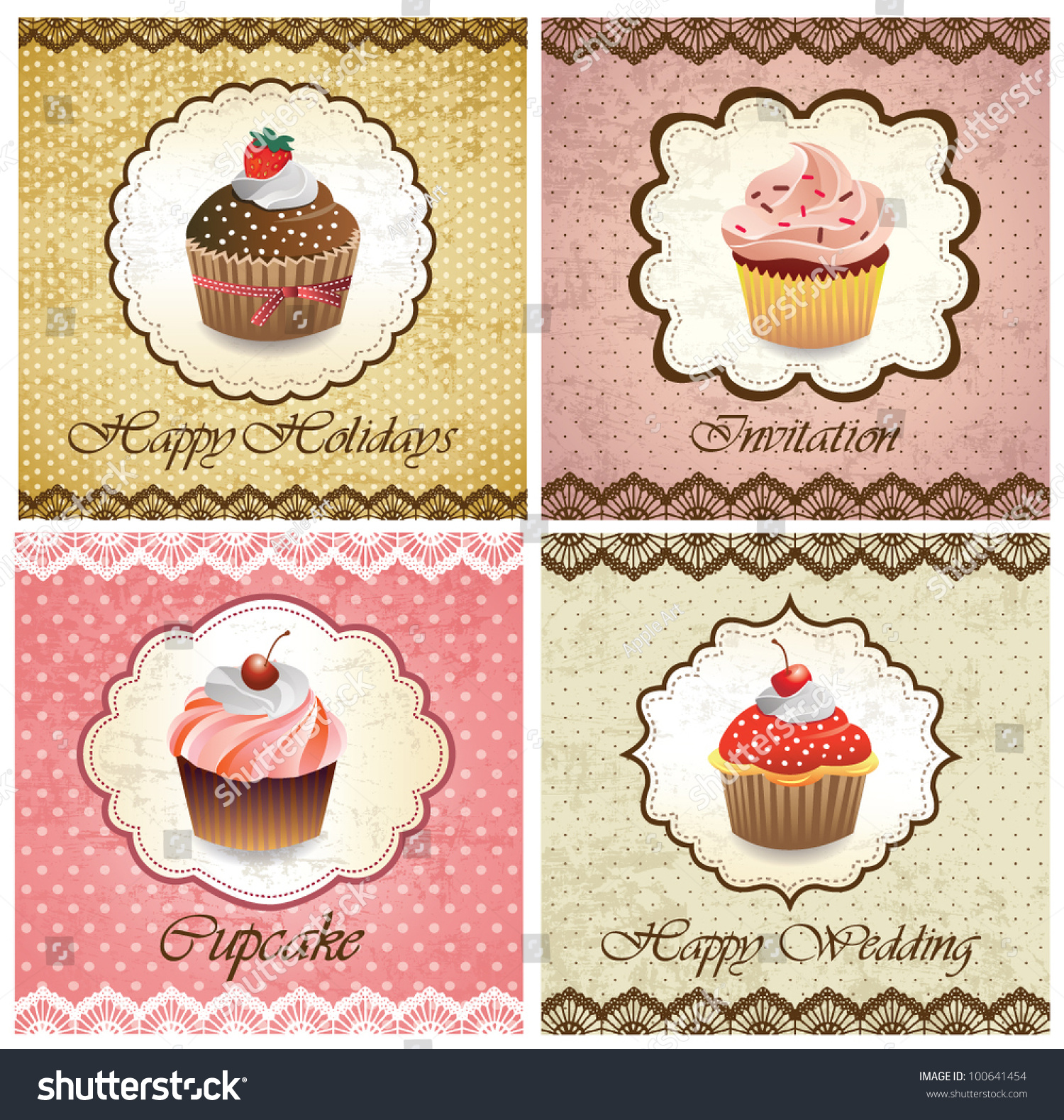Set Vintage Various Cupcake Cards Template Stock Vector