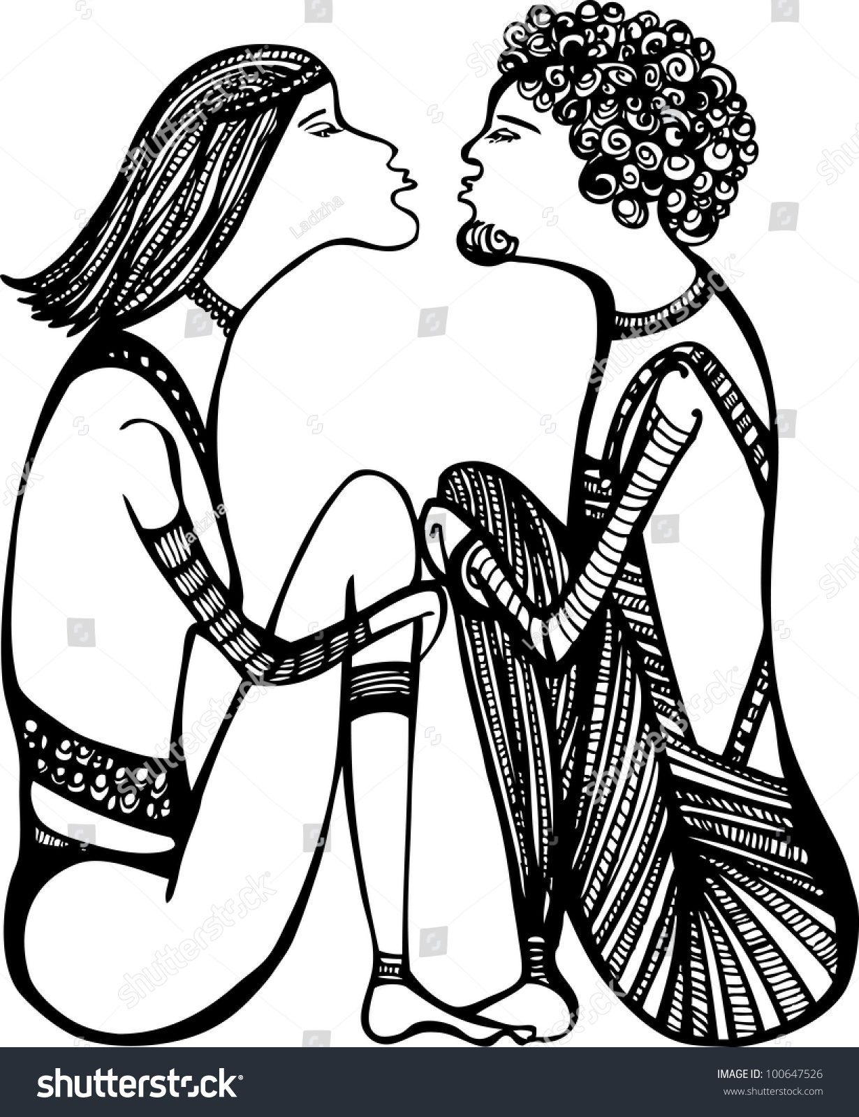 Sketch of a love couple ready to kiss black and white illustration