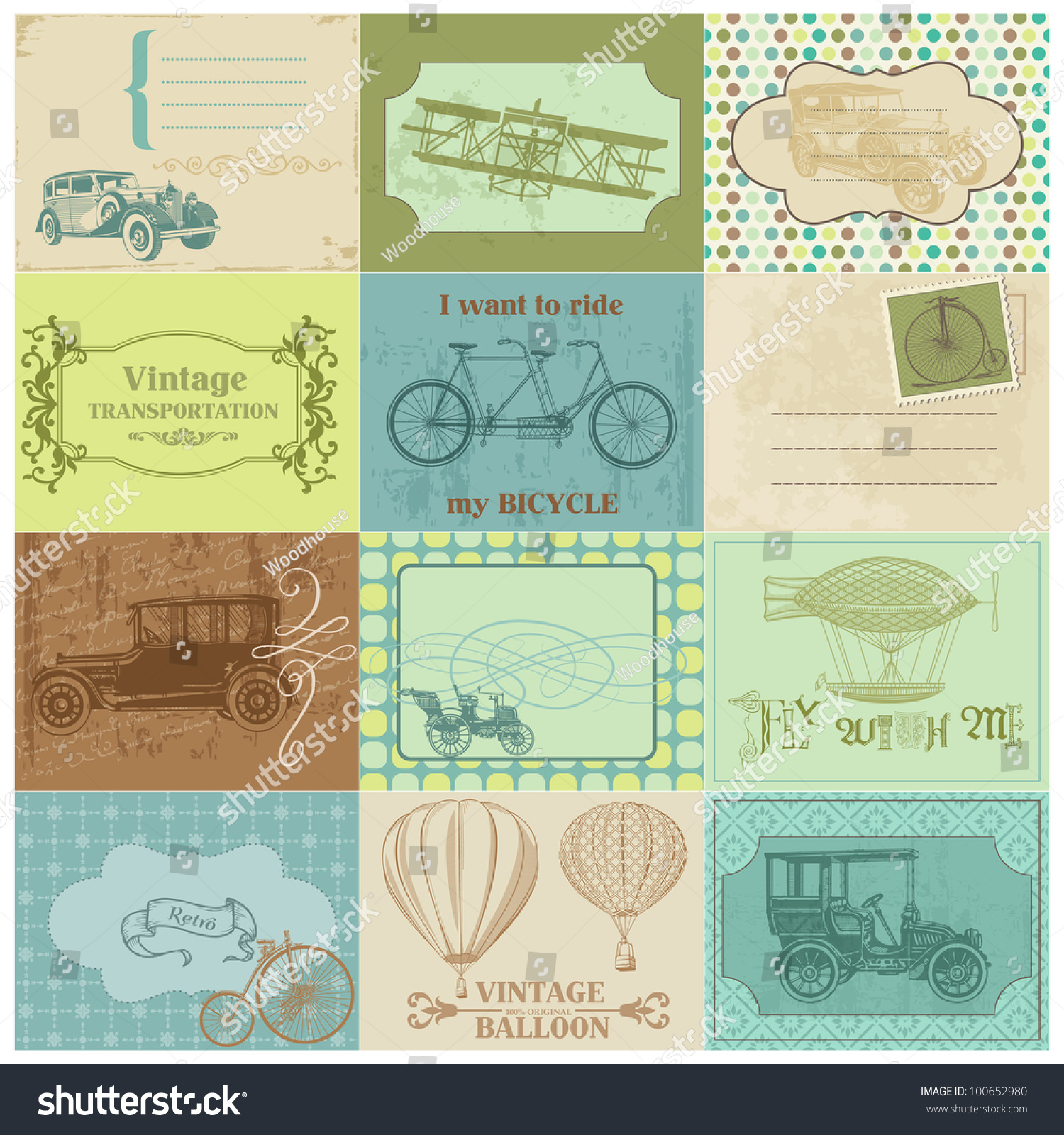 Scrapbook paper designs - Scrapbook Paper Tags And Design Elements Vintage Transportation In Vector