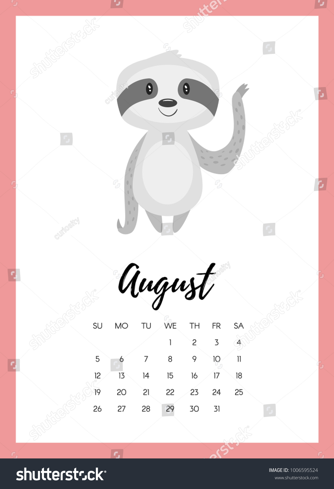 vector cartoon style illustration august 2018 stock vector royalty