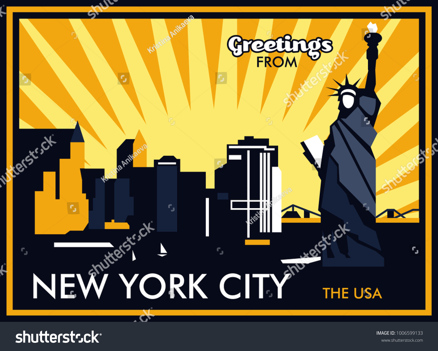 Greetings new york city usa vector stock vector 1006599133 greetings from new york city the usa vector postcard kristyandbryce Images