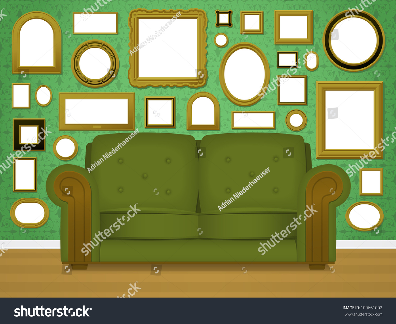 retro living room interior vector upholstered stock vector