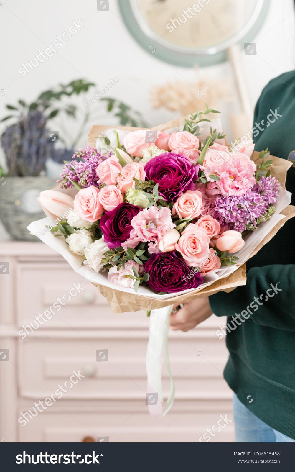 Beautiful luxury bouquet mixed flowers woman stock photo edit now beautiful luxury bouquet of mixed flowers in woman hand the work of the florist at izmirmasajfo