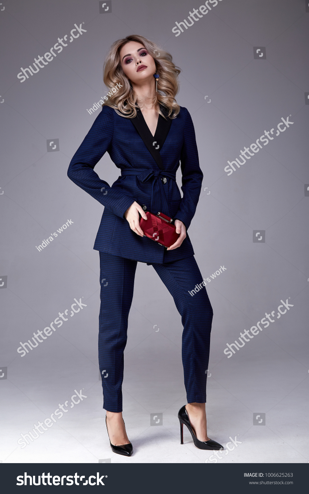 215c8afc35dd1 Beautiful business woman lady boss style perfect body shape blond hair wear  blue formal suit elegance casual style secretary diplomatic protocol office  ...