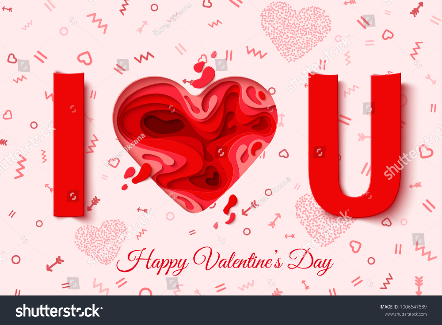 Love You Happy Valentines Day Greeting Stock Vector Royalty Free
