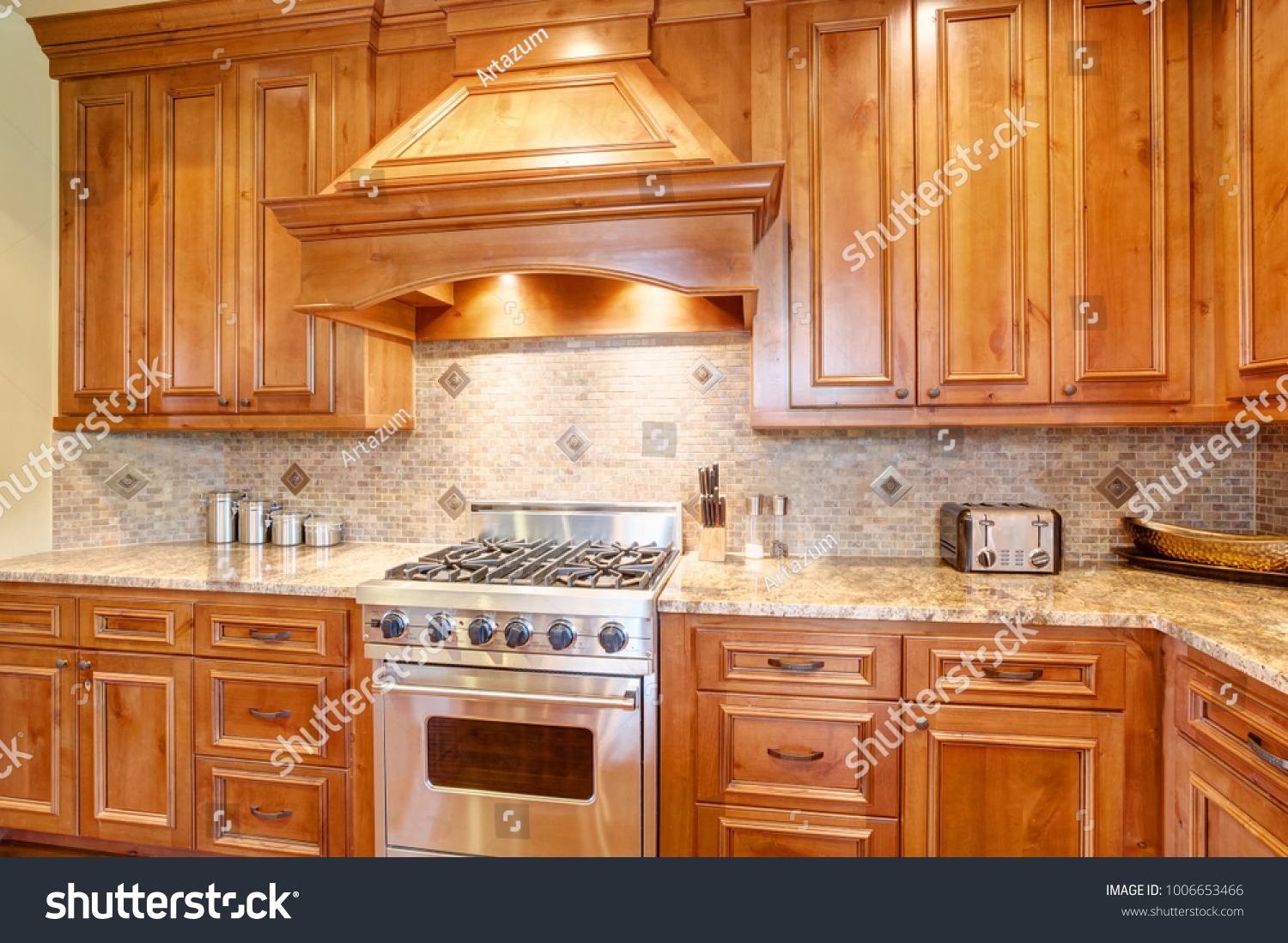 - Gourmet Kitchen Boasts Curved Kitchen Hood Stock Photo (Edit Now