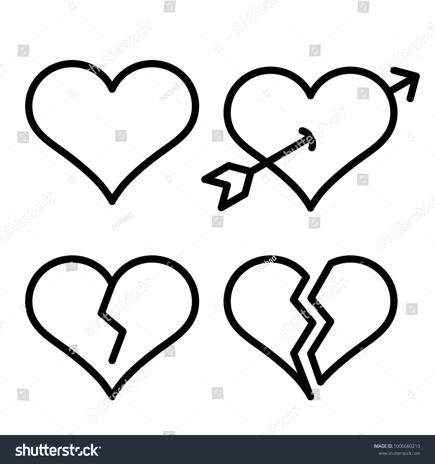Set outline broken heart icons isolated stock vector 1006660210 set of outline broken heart icons isolated on white background line love pictograms amour biocorpaavc Images