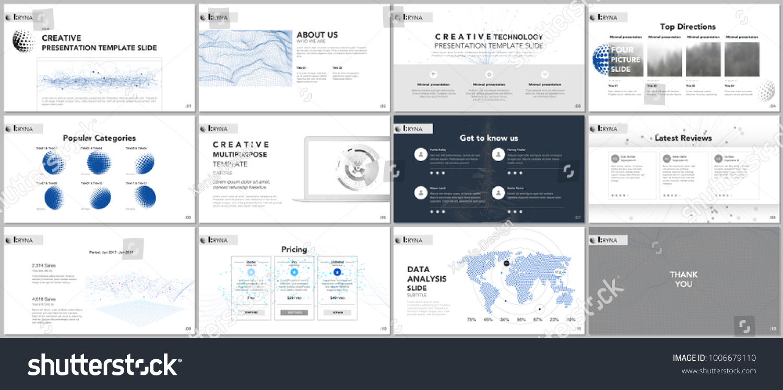 Clean Minimal Presentation Templates Tech Elements Stock Vector ...