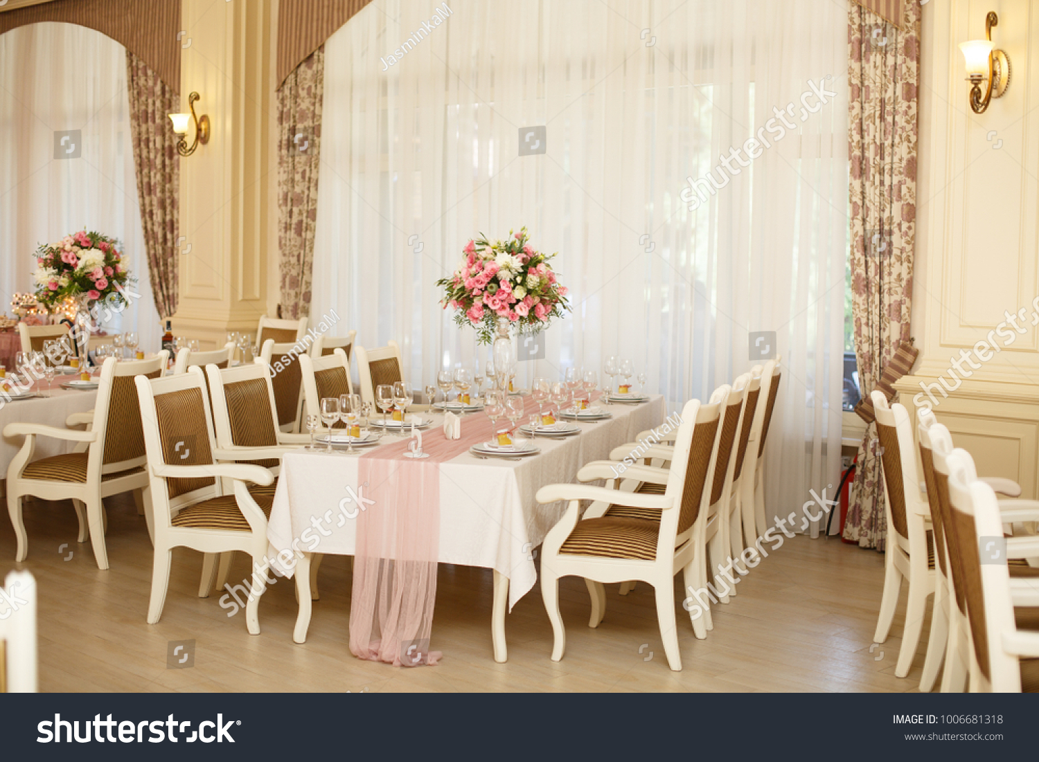 Beautiful Setting Of Wedding Party In Restaurant Tables And Chairs
