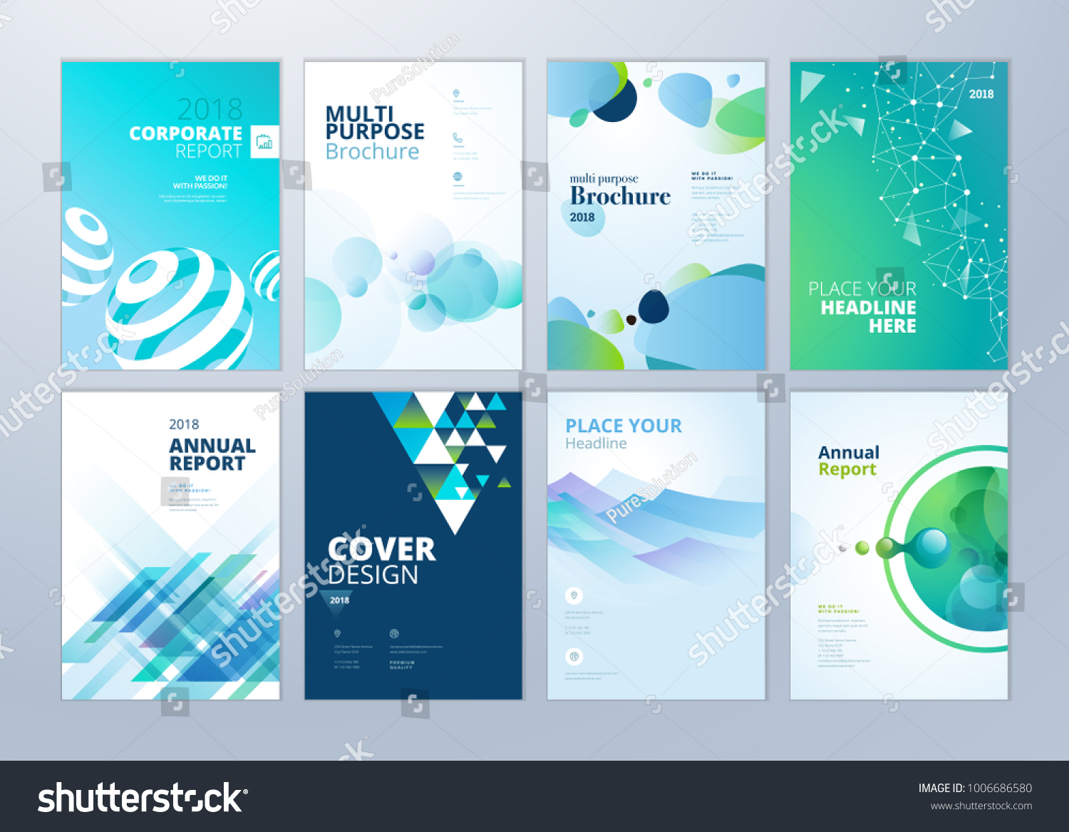 Set Brochure Annual Report Flyer Design Stock Vector HD (Royalty ...