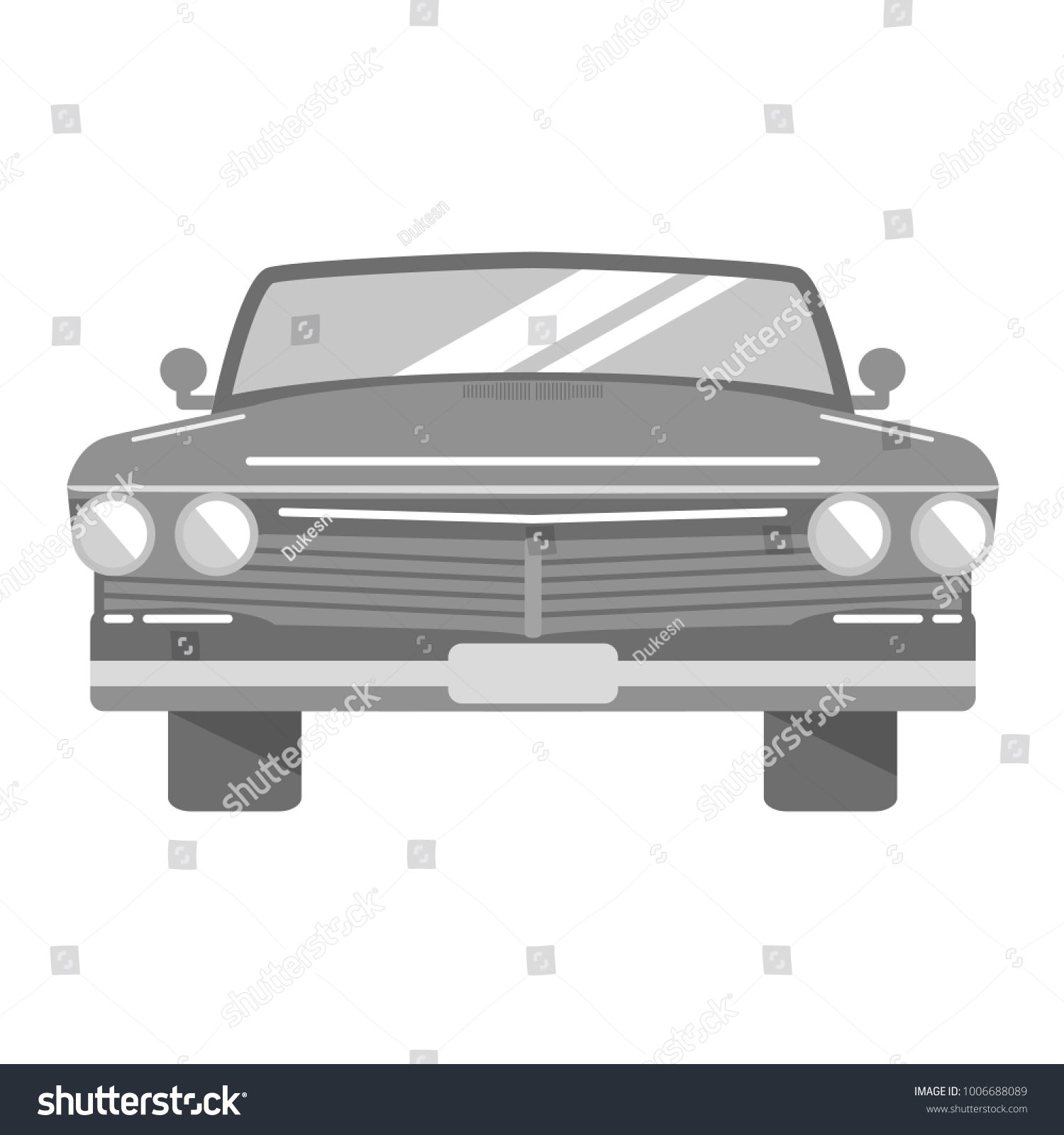 Retro Vintage Car Front View On Stock Vector 1006688089 - Shutterstock