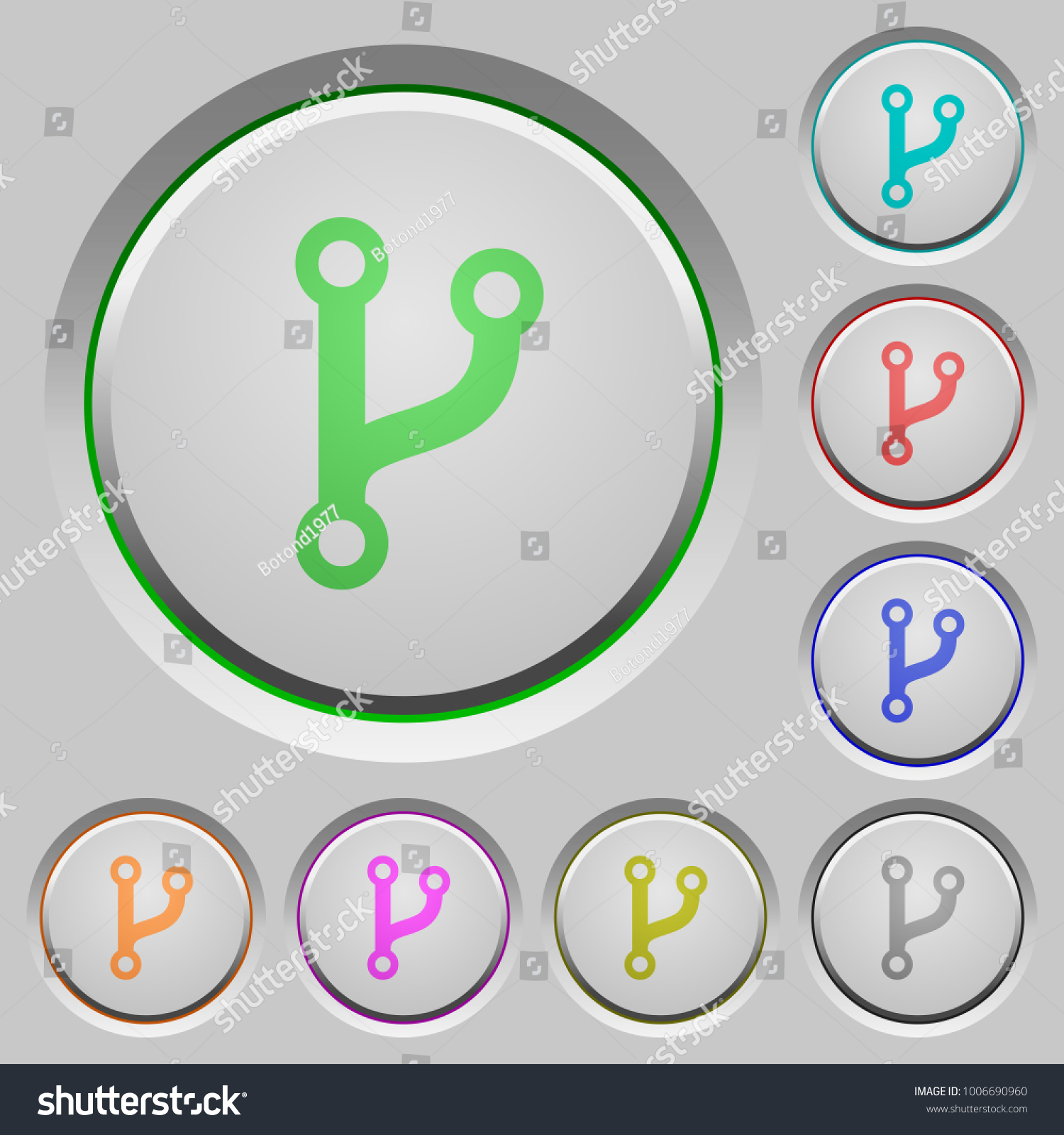 Code Fork Color Icons On Sunk Stock Vector 1006690960 - Shutterstock