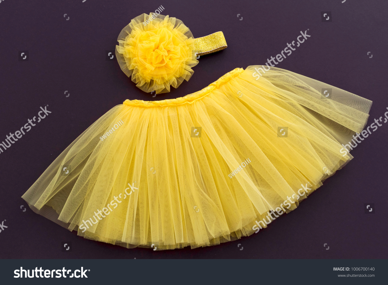 Tutu Yellow Skirt Flower Headband Newborn Stock Photo Edit Now