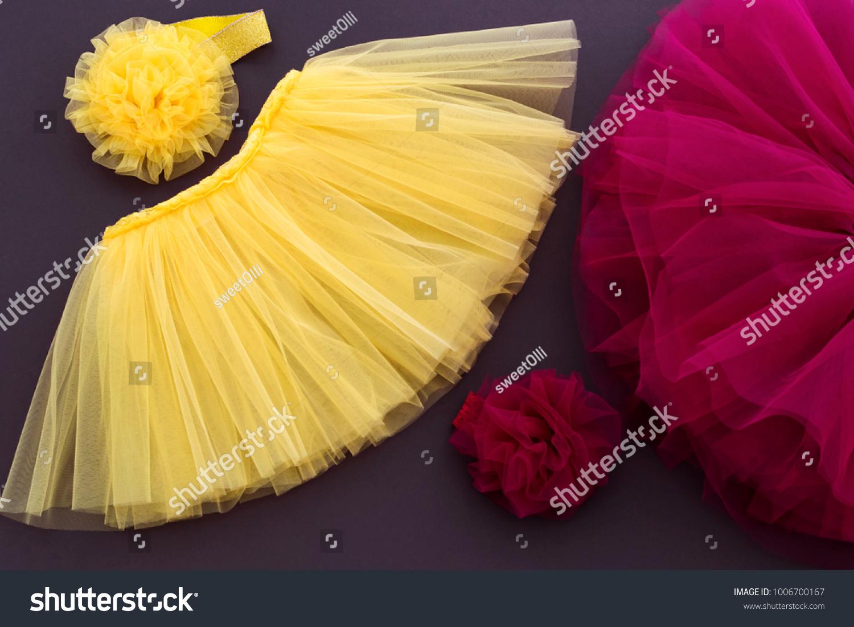 Tutu Yellow Purple Skirt Flower Headband Stock Photo Edit Now