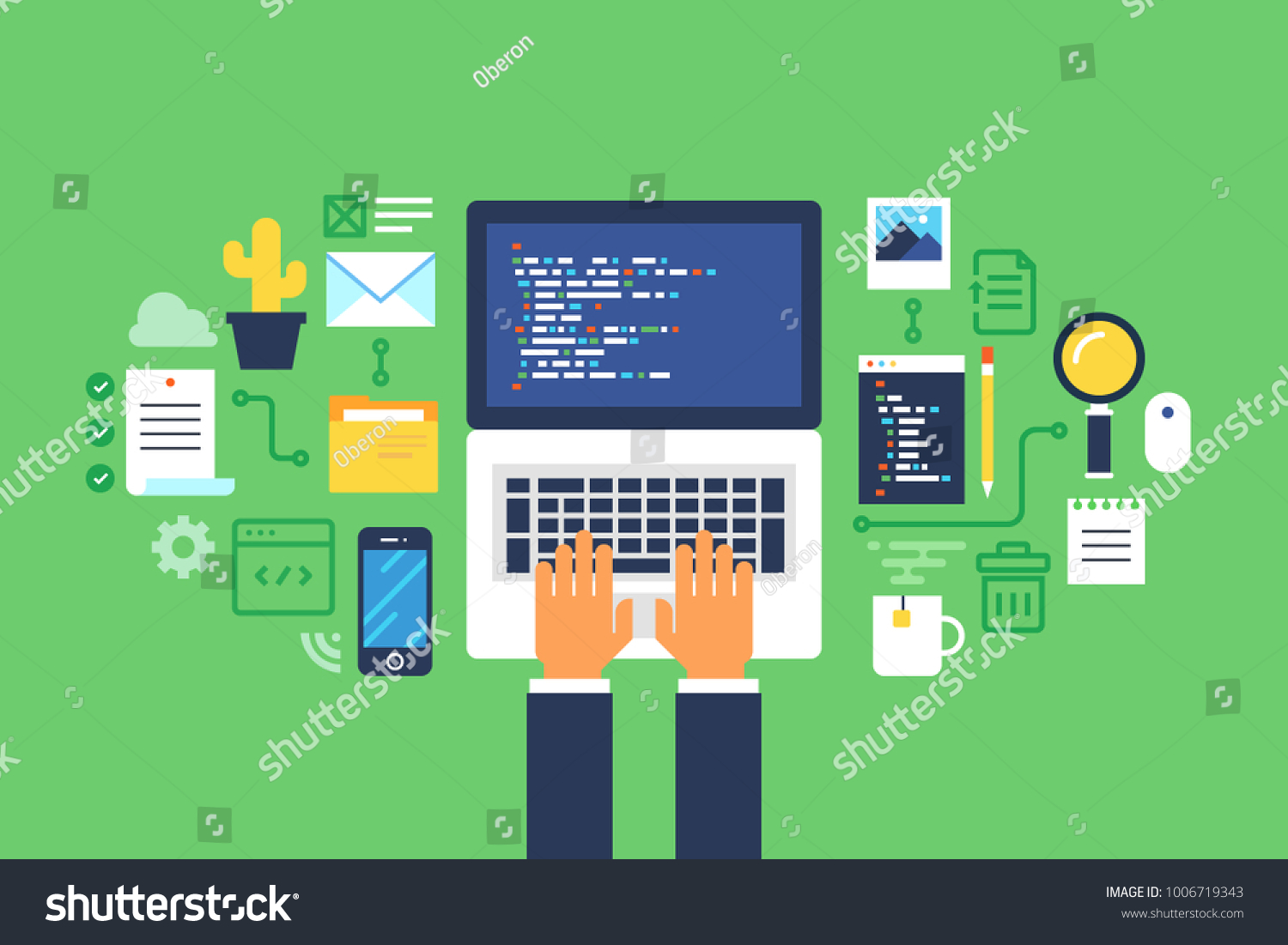 Programming And Coding Website Development Web Designflat Design Oberon Wire Diagram Id 1006719343