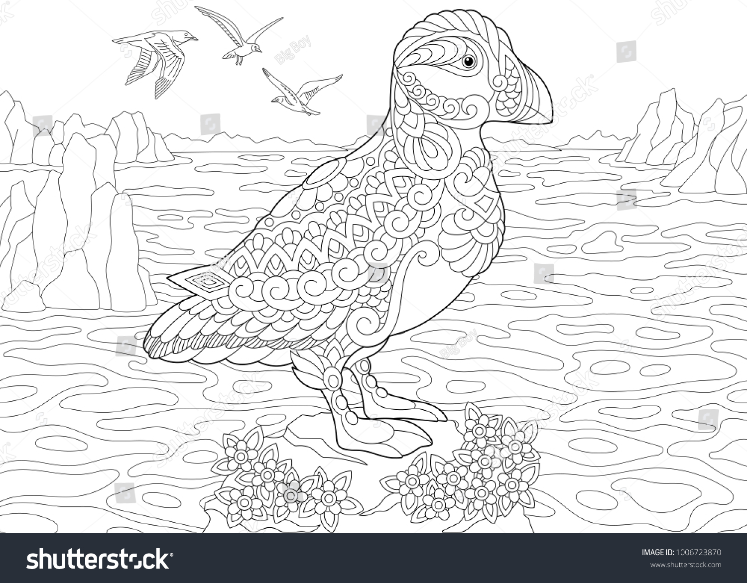 Animal Coloring Page Adult Coloring Book Stock Vector (Royalty Free ...