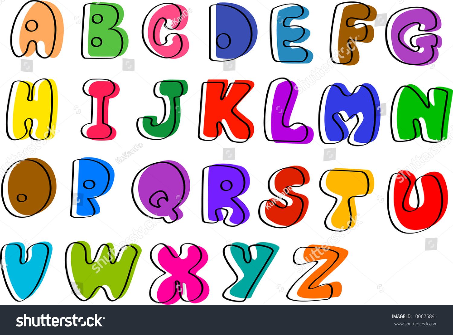 Colorful Hand Written Abc Letters Z Stock Vector 100675891