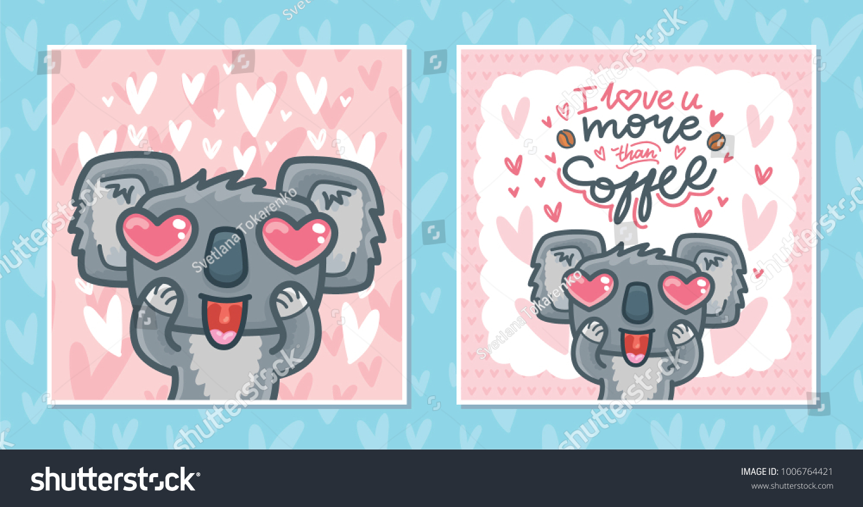 Set Greeting Cards Koala Bear Character Stock Vector Royalty Free