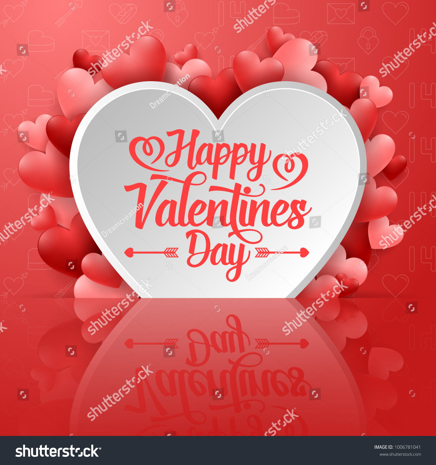 Valentines Day Greeting Card Hearts On Stock Vector 1006781041
