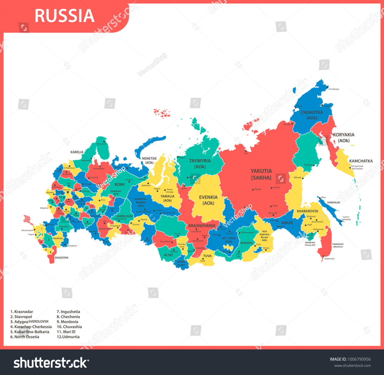 Detailed Map Russia Regions States Cities Stock Vector 1006790956