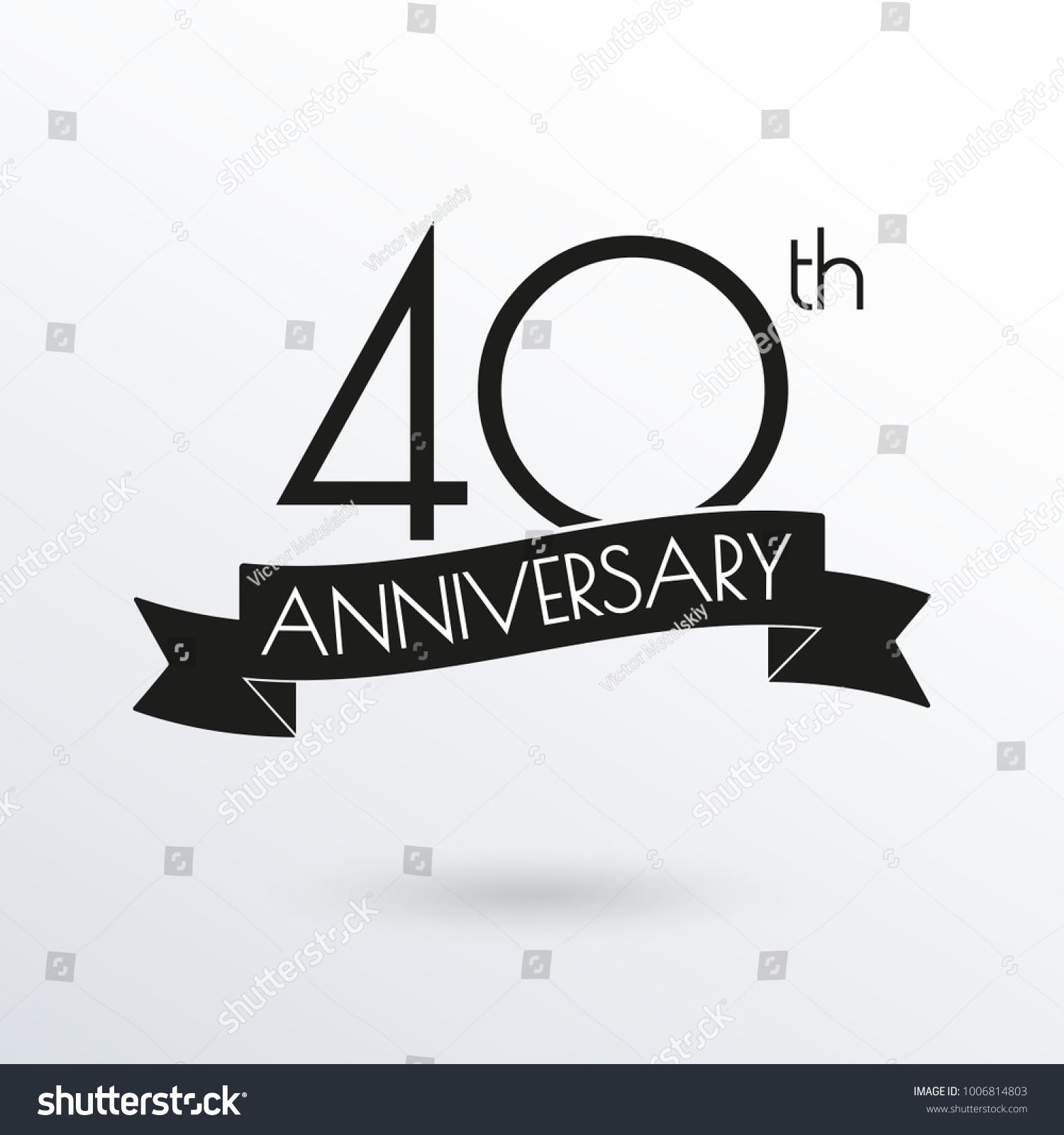 40 Years Anniversary Logo Ribbon 40th Stock Vector Royalty Free