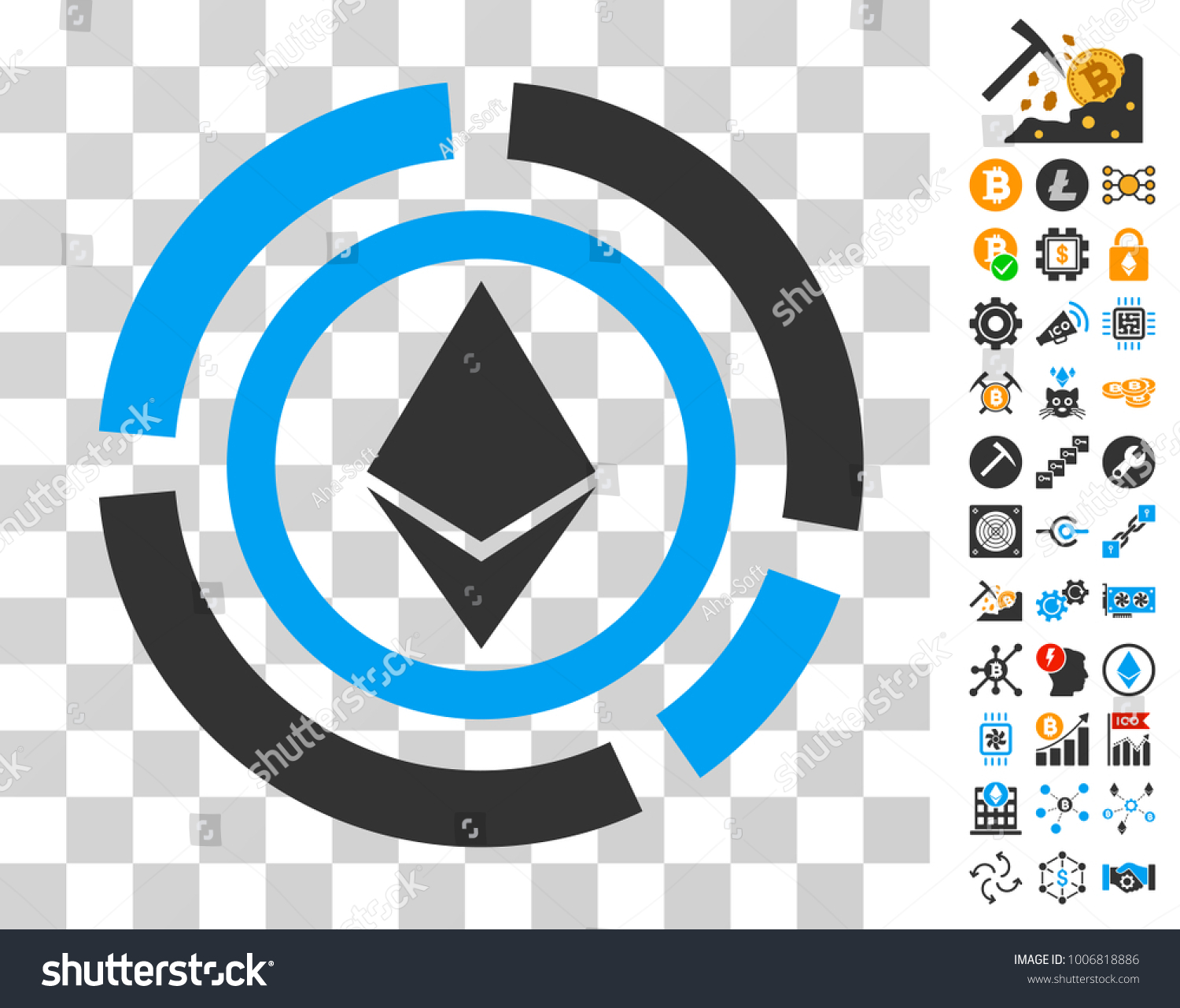Ethereum Diagram Pictograph With Bonus Bitcoin Mining And Blockchain Images Vector Illustration Style Is Flat