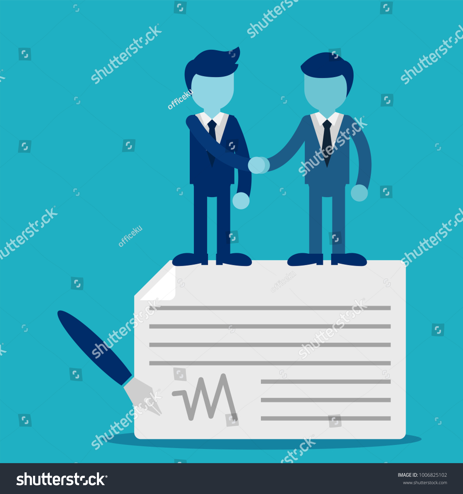 Agreement Business People Standing On Signed Stock Vector 1006825102