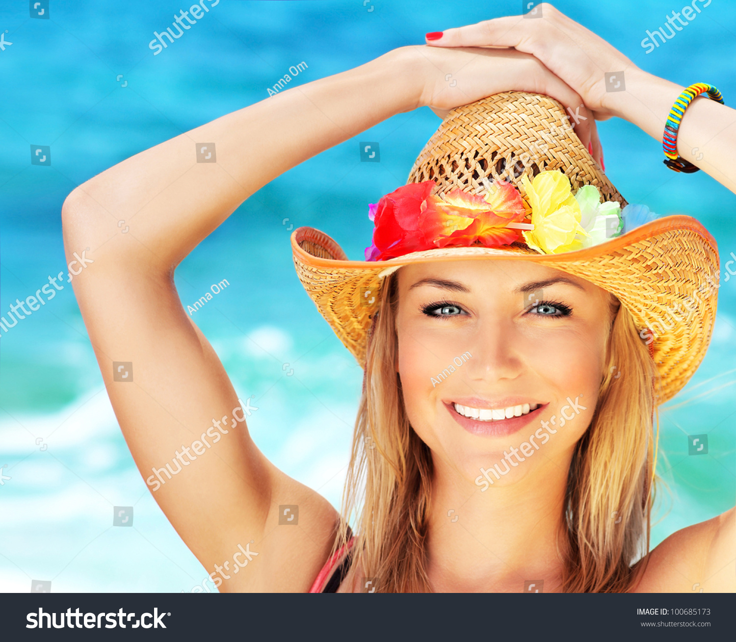 Happy Young Woman On The Beach, Beautiful Female Face