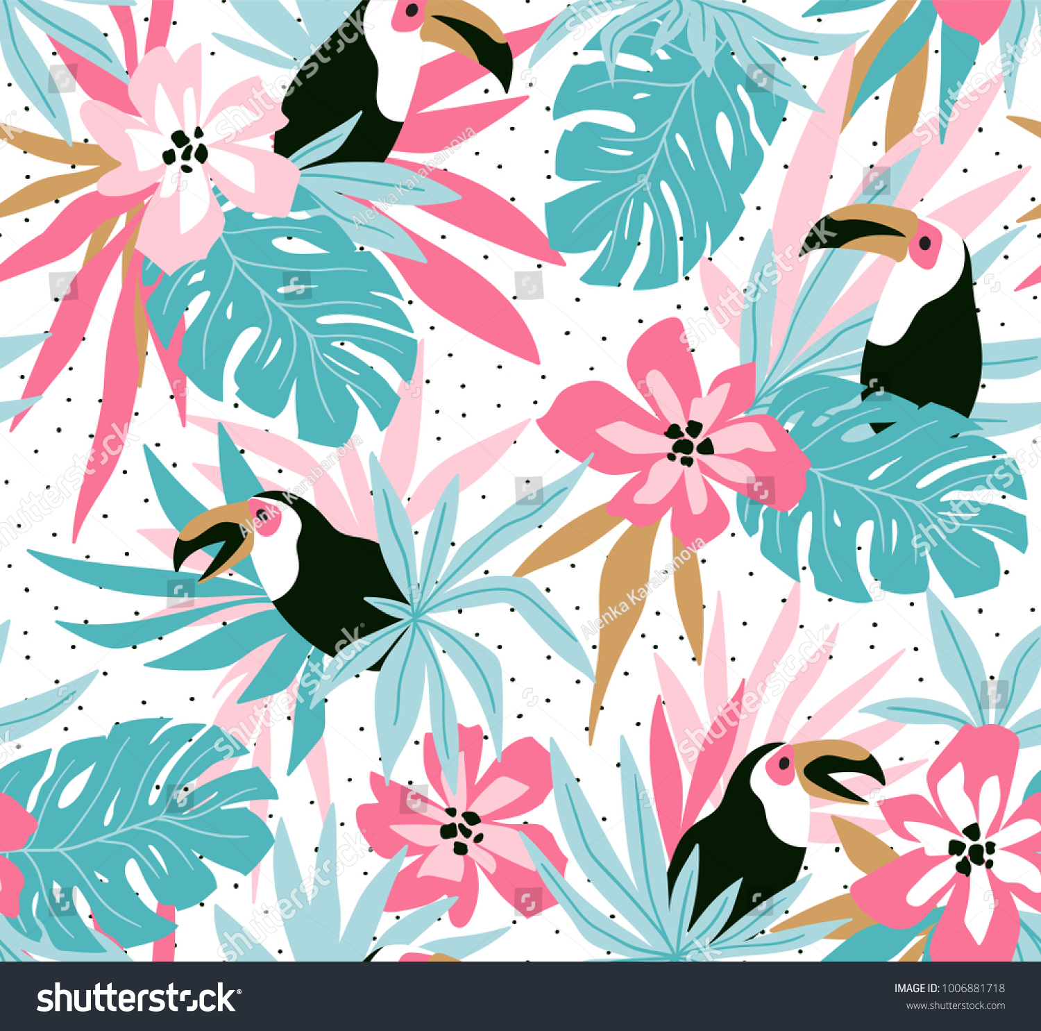 Floral Background Tropical Flowers Leaves Toucans Stock Vector