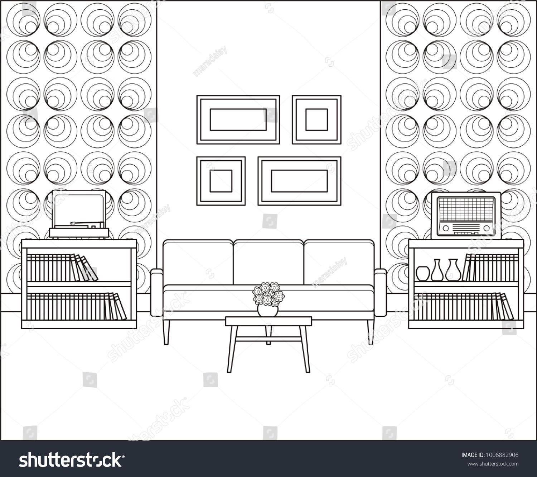 Room Line Art Retro Living Room Stock Vector 1006882906 - Shutterstock