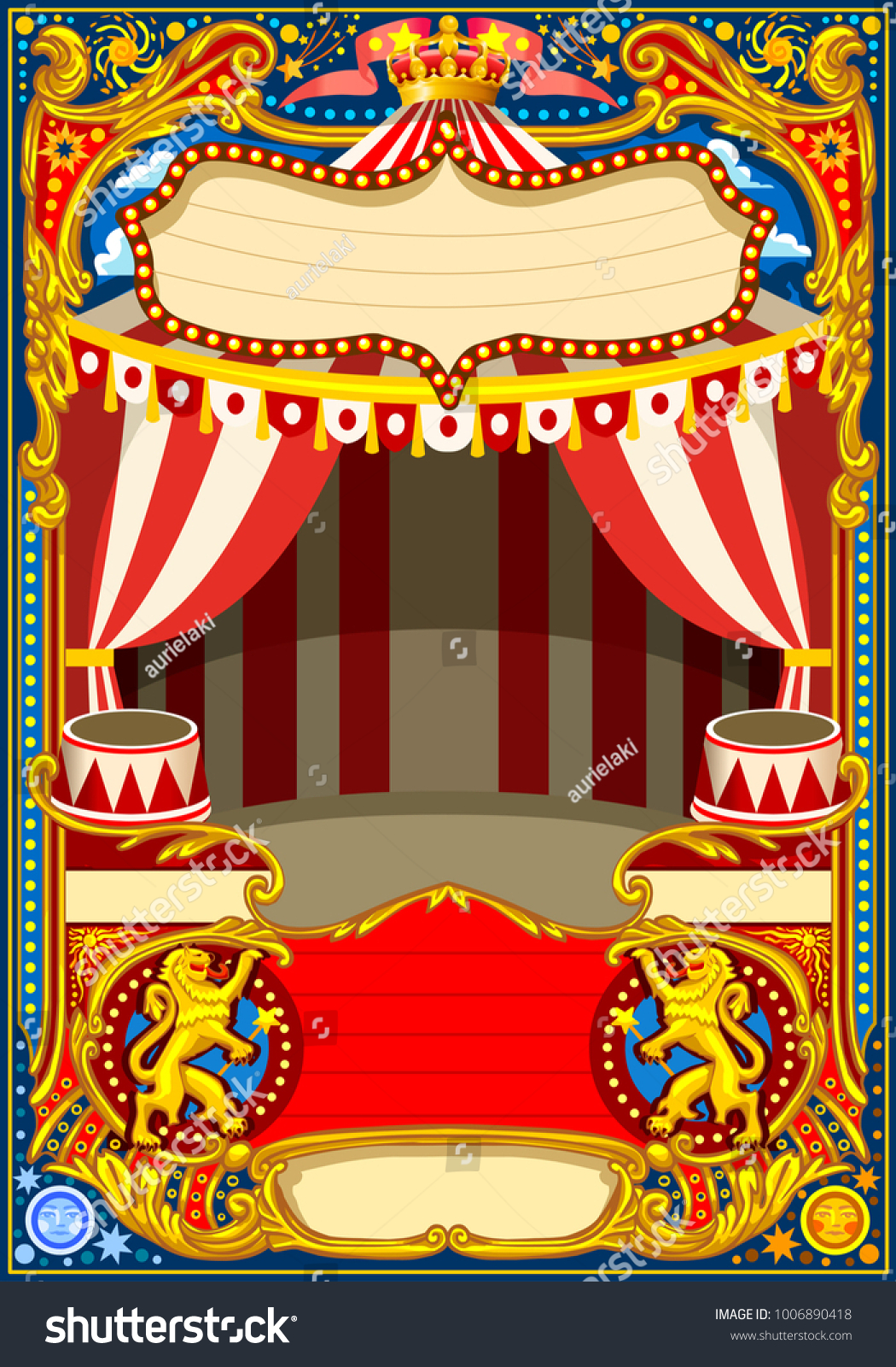 Carnival poster template. Circus vintage theme for kids birthday ...