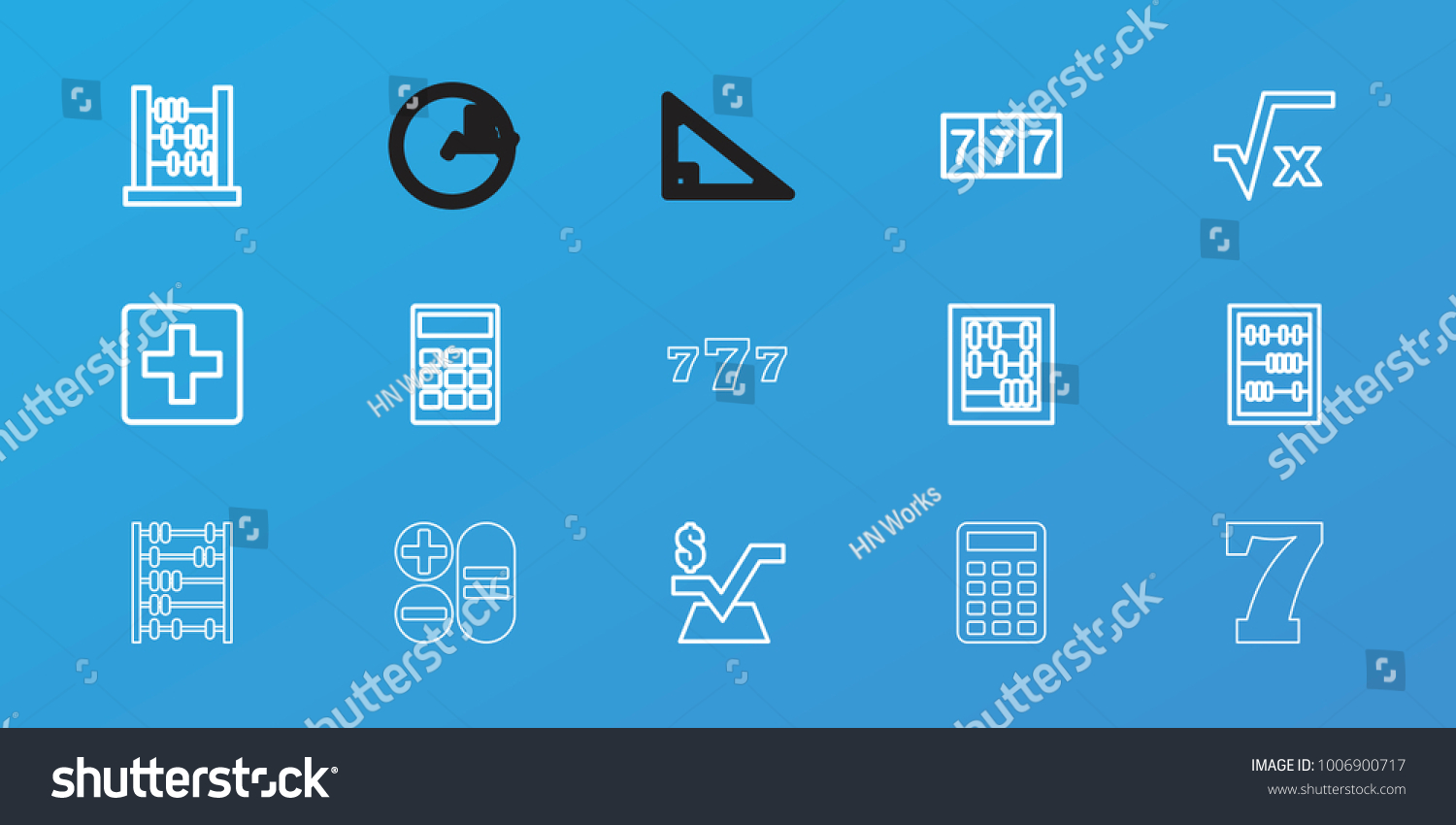 Editable 15 Math Icons 7 Number Stock Vector 1006900717 - Shutterstock