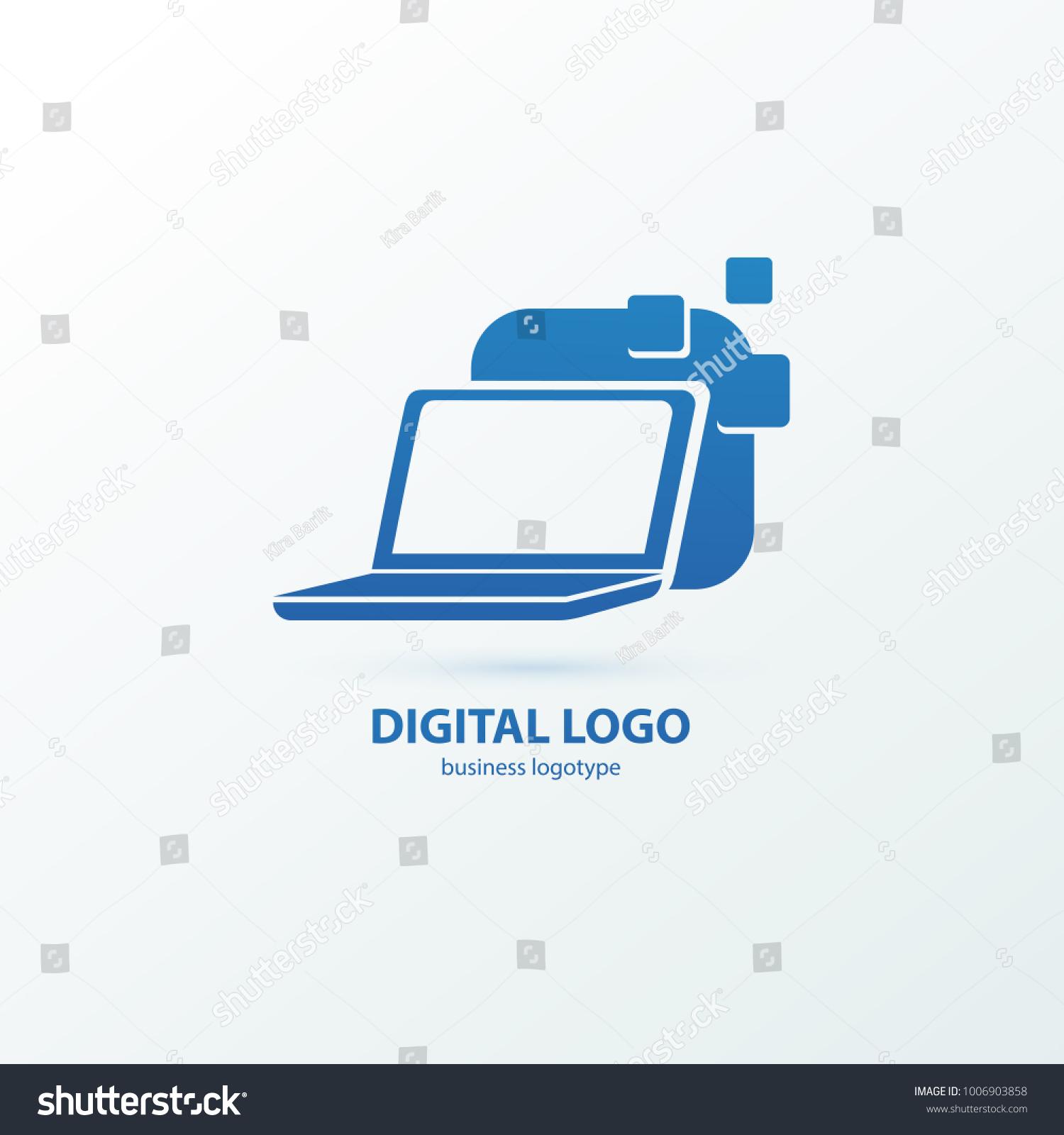 Logo Design Abstract Computer Repair Vector Vector de stock (libre ...