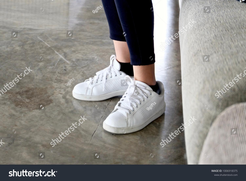 white shoes black socks