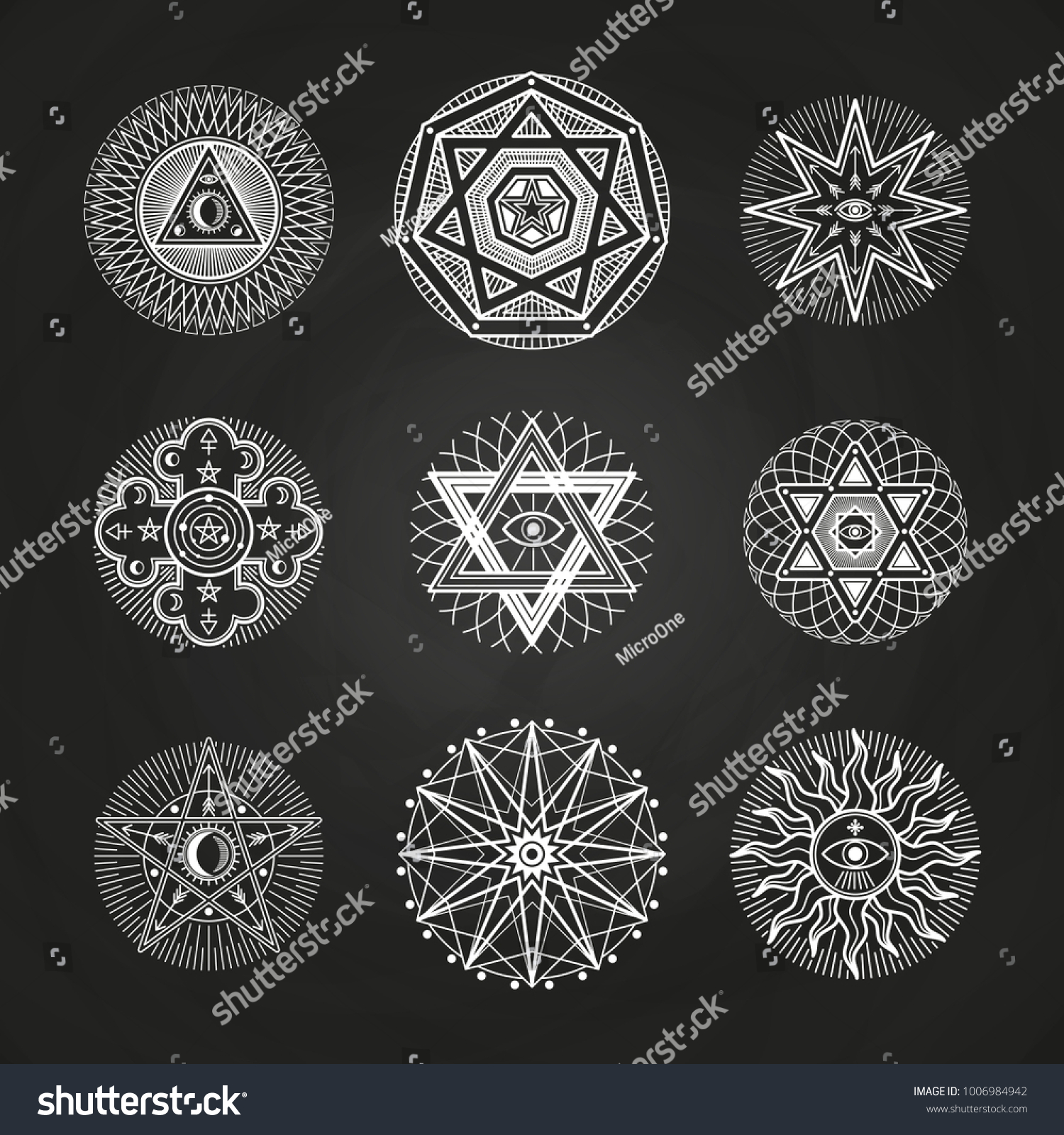 White Mystery Occult Alchemy Mystical Esoteric Stock Vector Royalty
