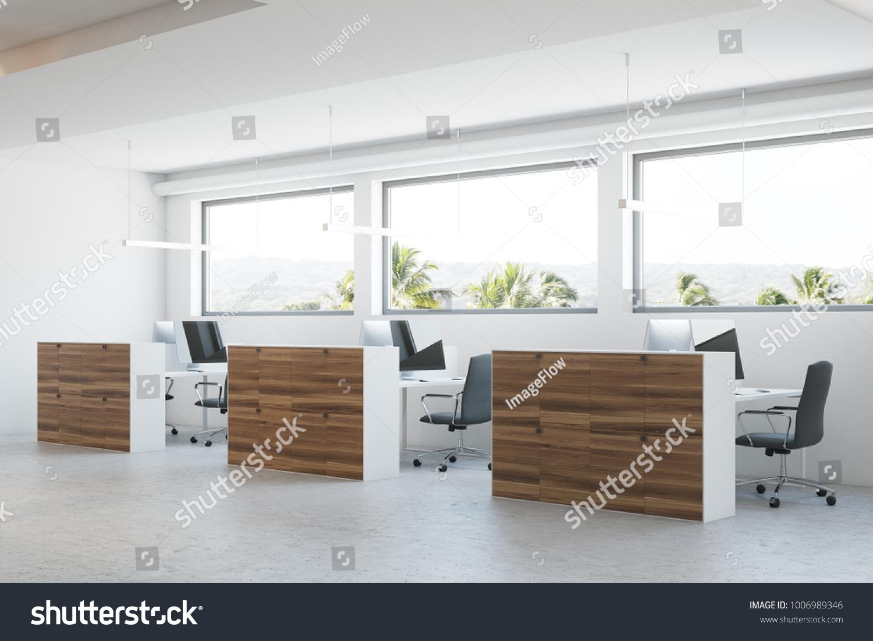 Modern Office Corner Concrete Floor Wooden Stock Illustration ...