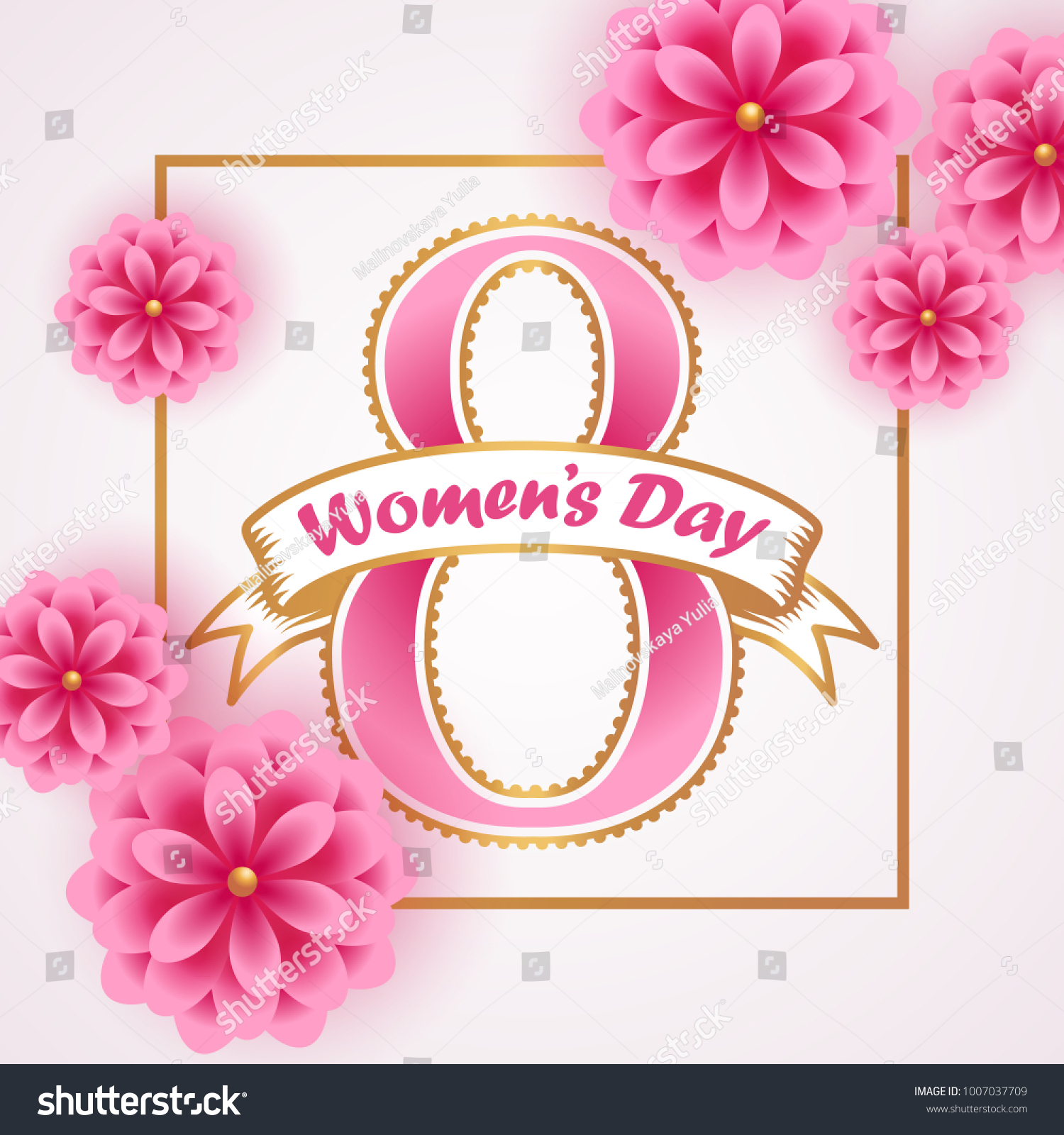 Womens Day Greeting Card Pink Paper Stock Vector 1007037709