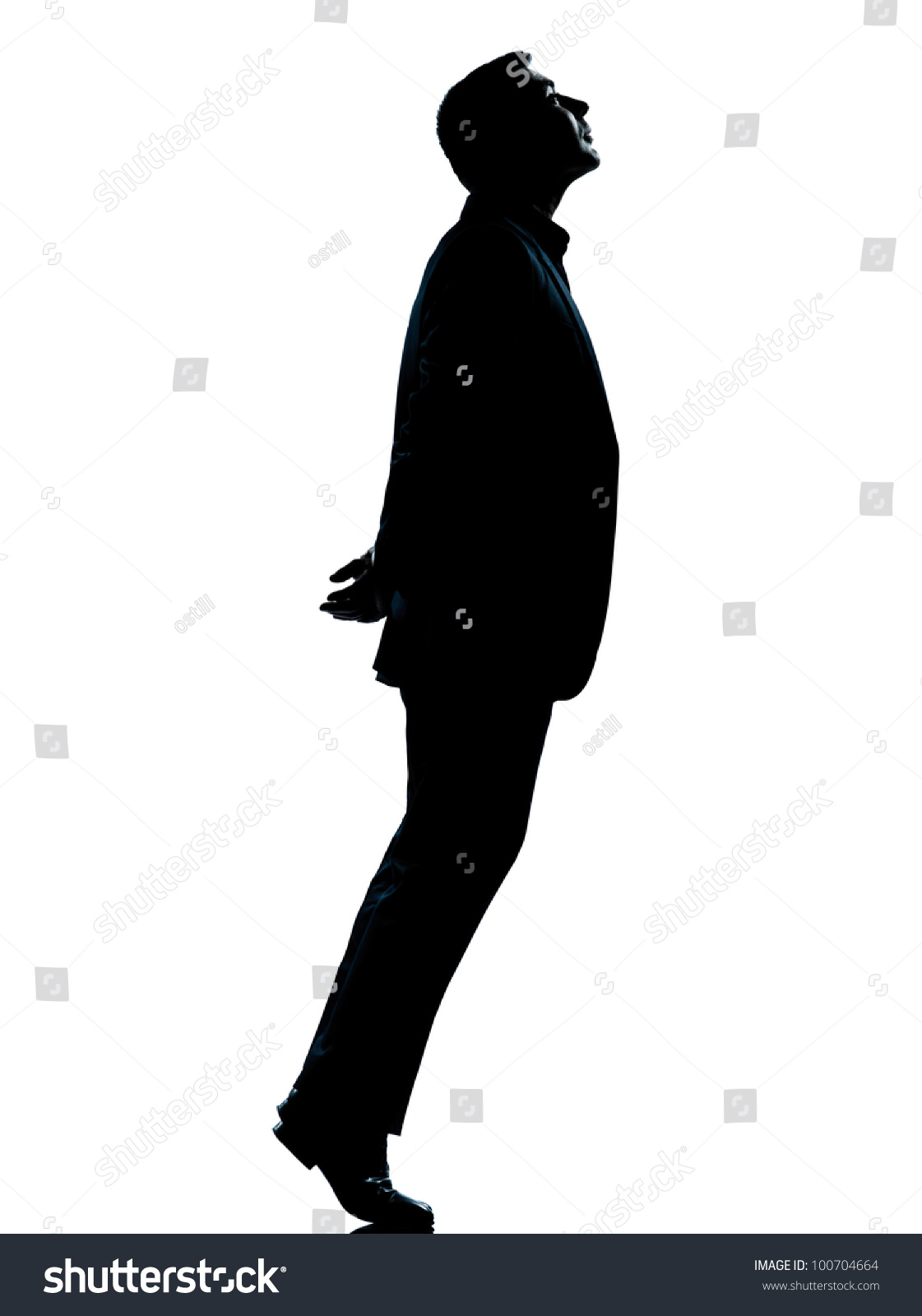 One Caucasian Business Man Silhouette Standing Tiptoe ...